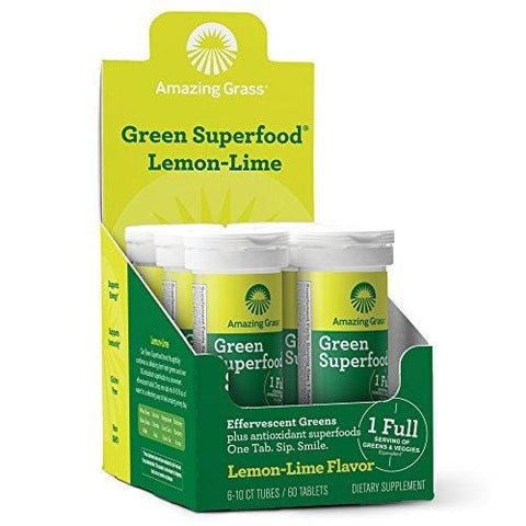 Amazing Grass, Green Superfood Drink Tablets, Flavor: Lemon Lime , with Alkalizing Greens and Antioxidant Blend, 10 Count, Pack of 6