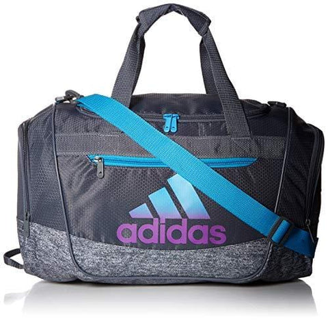 adidas Defender III Duffel Bag, Onix/Onix Jersey/Shock Cyan/Active Purple, One Size