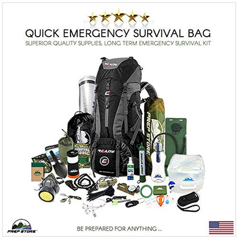 Prep Store - Quick - Emergency Survival Pack - Survival Kit - Bugout Bag - Hurricane Emergency Kit - Survival Bag - Bug Out Bag (Quick Kit)