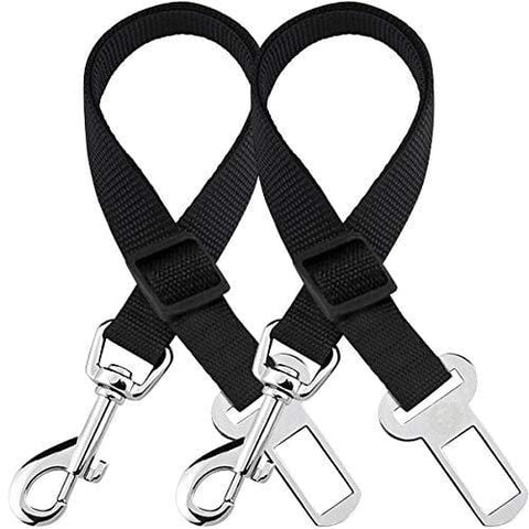 2 Adjustable Car Seat Belts for Dogs & Cats --- Triple the survival rate in accidents - Prevent stress from travel in kennel - Allow breathing fresh air without pets jumping out - Support all cars