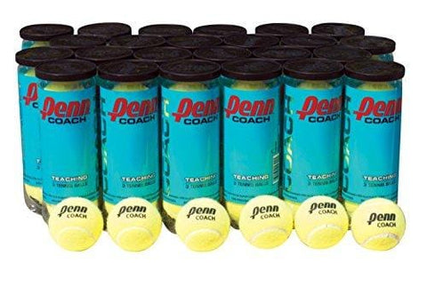 Penn Coach Practice Tennis Balls, Case of 72 Balls, 24 cans, 3 Balls per Can