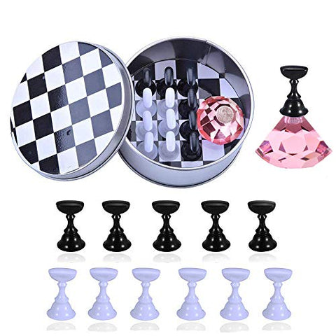 Kalolary 1 Set Nail Art Holder Practice Stand for Nail Art Display, Magnetic Nail Art Tips Holders Crystal Nail Holder Chessboard Fingernail DIY Nail Art Display Stand Training Practice Display Stand