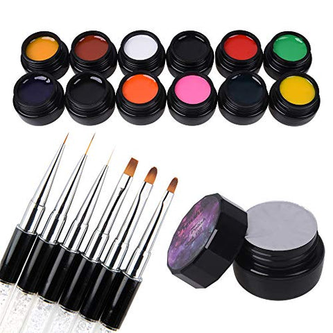 12 Pcs 3D 8g Gel Nail Art Painting Gel Designs Painting Drawing Gel Soak Off UV LED Manicure with Brush Set