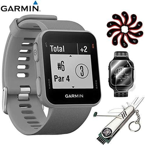 Garmin Approach S10 - Lightweight GPS Golf Watch Powder Grey (010-02028-01) with Deluxe Golf Bundle Includes, 7-in-1 Golf Tool + Zippered Headcover Set for Golf Club + Screen Protector (2Pack)
