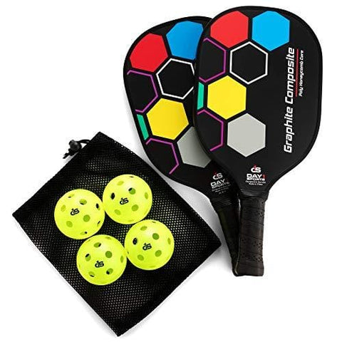 Day 1 Sports Premium Pickleball Set - 2 Paddle Set with Mesh Carry Bag, 4 Balls Durable Pickle Ball Paddles with Cushion Comfort Grip and Accessories - Graphite-Face Racquets, Pickleballs