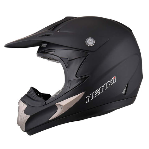 NENKI Motocross ATV Dirt bike Helmet NK-301 for Men,DOT Approval (L 59-60CM, MATT BLACK)