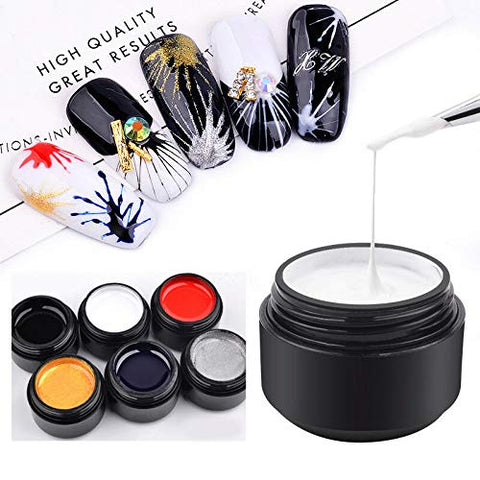 Barhunkft(TM) Nail Art UV Gel Drawing Elastic Line Painting Gel Varnish Silk Spider Graffiti(Random Color)