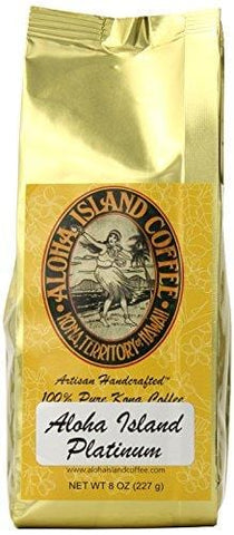 Aloha Island Coffee PLATINUM Organic 100% Pure Kona Coffee, 8 Oz Whole Bean, 8-ounces