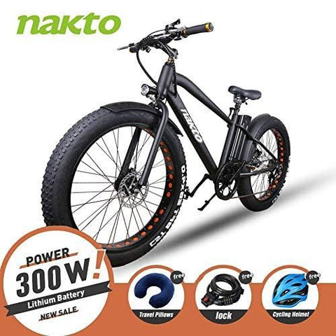 "NAKTO 26"" 350W Fat Tire Electric Bicycle Mountain Snow Beach Sporting Shimano 6 Speed Gear EBike Brushless Gear Motor with Removable Waterproof Large Capacity 36V10A Lithium Battery and Battery Charge"