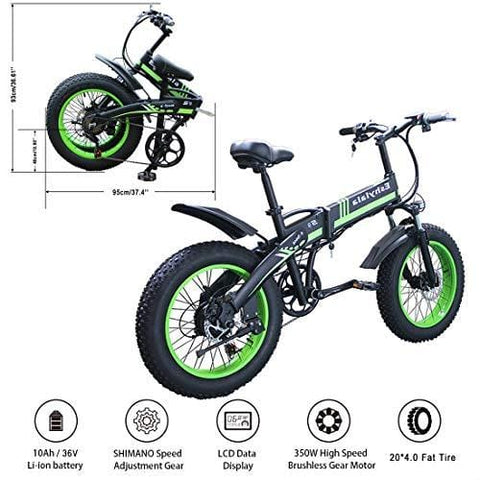 "KEANTY 20"" Folding Electric Mountain Bike, Fat Tire Electric Bike Beach Snow Mountain Bicycle with 36V/10AH Large Capacity Lithium Battery and Two Cycling Modes (Green)"