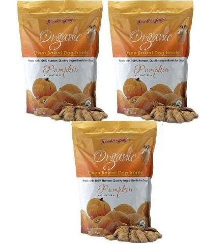 (3 Pack) Grandma Lucy's Organic Oven Baked Pumpkin Dog Treats, 14 Ounces each