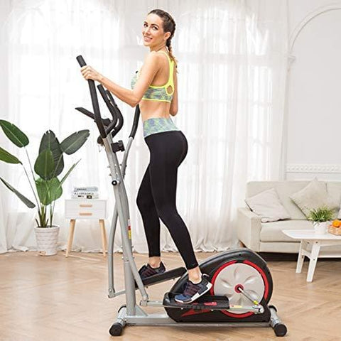 Aceshin Elliptical Machine Trainer Compact Life Fitness Exercise Equipment for Home Workout Offic Gym (Silver2)