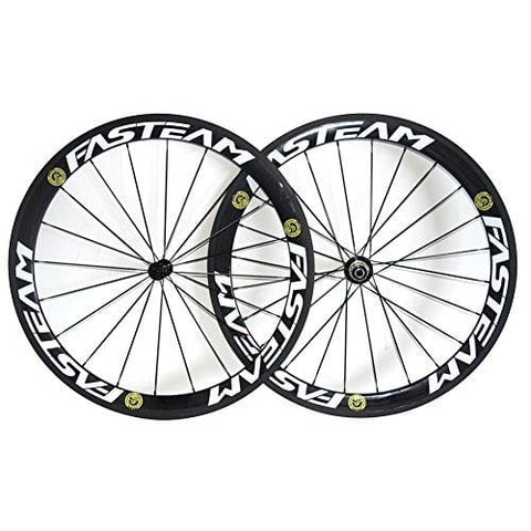 Fasteam Carbon Fiber Road Bike Wheels 700C Clincher Wheelset 50mm Matte 23 Width 20/24h for Shimano