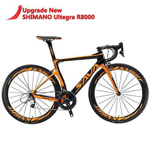 SAVADECK Phantom 2.0 700C Carbon Fiber Road Bike Shimano Ultegra 6800 22 Speed Group Set with Hutchinson 25C Tire and Fizik Saddle (New Orange, 560MM)