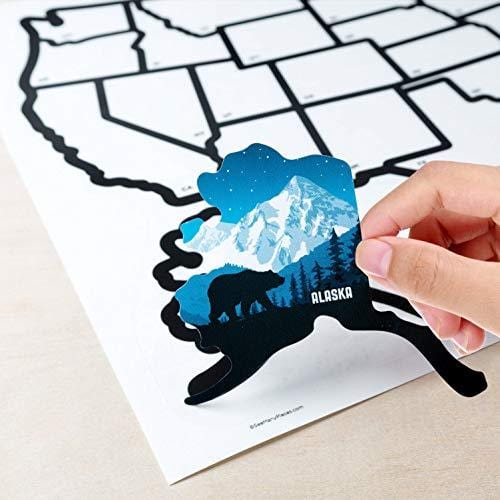 SEE MANY PLACES .com RV State Stickers United States Travel Camper Map RV  Decals for Window, Door, or Wall ~ Includes 50 State Decal Stickers with ...