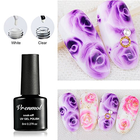Vrenmol 2 Colors Blossom Gel Polish Soak Off UV LED White Clear Magic Blooming Gel Beautiful Flower Nail Art 0.27 fl.oz.