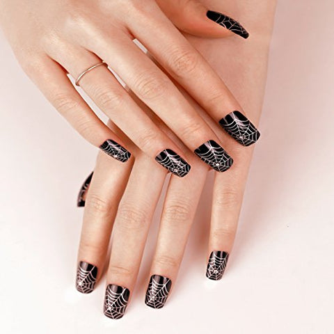 ArtPlus Preglued 24pcs Halloween Gothic Black Silver Spider Web with Crystals False Nails with Upgraded Adhesive Tabs Press on and Glue Full Cover Long Length Fake Nails Art