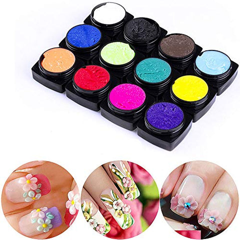 12 Color Carved Patterns 3D Nail Gel Varnish Plasticine For Nails Carved Gel For Modeling Sculpture Gel Paint Lacquer