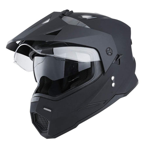 1Storm Dual Sport Motorcycle Motocross Off Road Full Face Helmet Dual Visor Matt Black, Size Medium (55-56 CM 21.7/22.0 Inch)