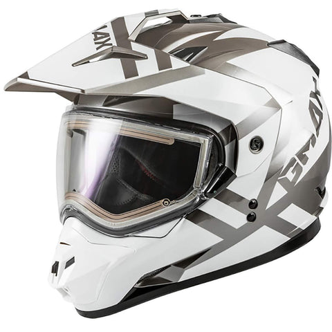 Gmax GM-11S Trapper Adult Snowmobile Helmet with Electric Shield - White/Silver/Large