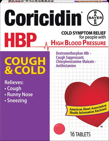 Coricidin HBP, Decongestant-Free Cold Symptom Relief for People with High Blood Pressure, Cough & Cold Tablets, 16 Count
