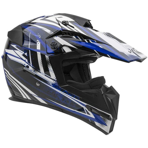 Vega Helmets Unisex-Child Kids Youth Dirt Bike, Motocross Full Face Helmet for Off-Road ATV MX Enduro Quad Sport (Blue Tactic Graphic, LARGE)