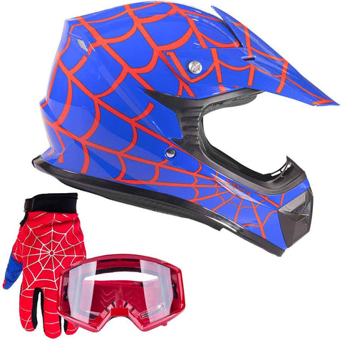 Typhoon Youth Kids Offroad Gear Combo Helmet Gloves Goggles DOT Motocross ATV Dirt Bike Motorcycle Blue Spiderman - Small