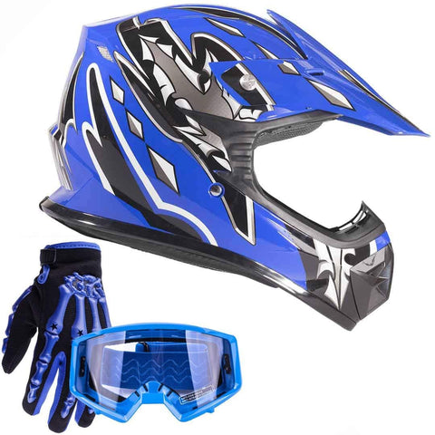 Typhoon Youth Kids Offroad Gear Combo Helmet Gloves Goggles DOT Motocross ATV Dirt Bike MX Motorcycle Blue, Large