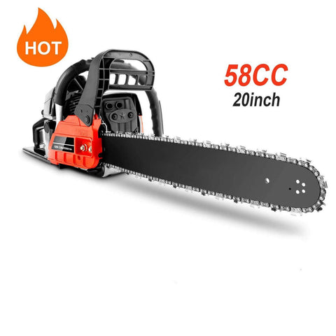 "couply Powerful Gas Chainsaw, 58CC 20"" Chain Saw Cordless Gas Powered Chainsaw with 2 Stroke, Handed Petrol Gasoline Saw Woodcutting Saw for Garden, Farm and Ranch with Tool Kit"