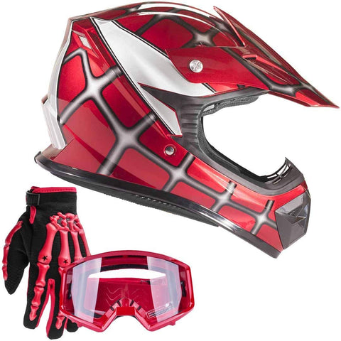 Typhoon Youth Kids Offroad Gear Combo Helmet Gloves Goggles DOT Motocross ATV Dirt Bike MX Spiderman Red, Medium