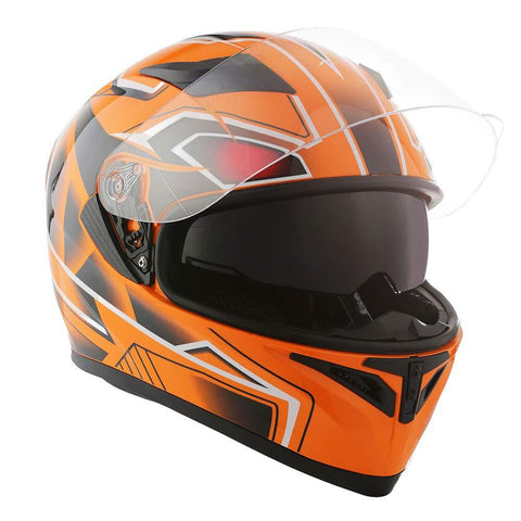 1STorm Motorcycle Street Bike Dual Visor/Sun Visor Full Face Helmet Panther Orange, Size X-Large Size XL (59-60 CM,23.2/23.6 Inch)