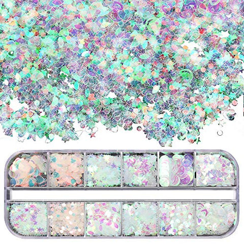 Teenitor 12 box Holographic Nail Sequin, Mixed Paillettes for Acrylic Gel PolishTips, Nail Sparkle Glitter Sheets Nail Art Craft Decoration