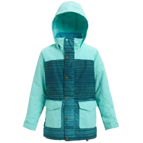 Burton Girls Elstar Parka Jacket, Tahoe Sunset Stripe/Aruba, X-Small