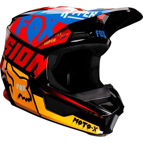 Fox Racing V1 Czar Youth Boys Off-Road Motorcycle Helmet - Black/Yellow/Medium