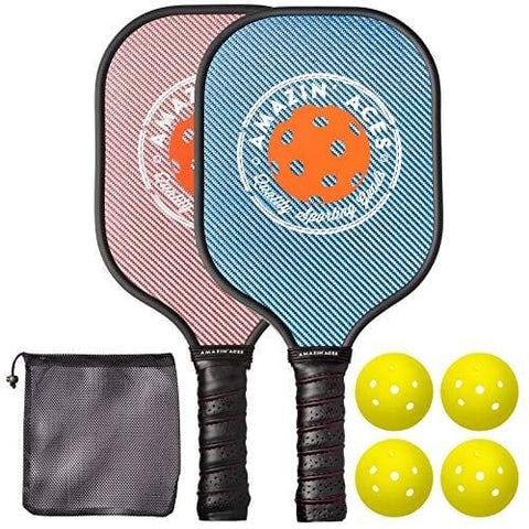 Amazin' Aces Pickleball Paddle Set | Pickleball Set Includes Two Graphite Pickleball Paddles + Four Balls + One Mesh Carry Bag | Rackets Feature a Graphite Face & Polymer Honeycomb Core (Blue & Pink) [product _type] Amazin' Aces - Ultra Pickleball - The Pickleball Paddle MegaStore