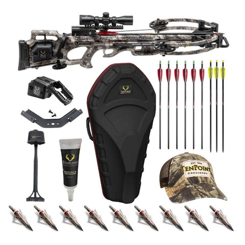 TenPoint Titan M1 370 FPS Crossbow with ProView 3 Scope and ACUdraw Cocking Kit with Hard Case, 12 Broadheads, 9 Arrows, Rail and Trigger Lubricant, and Cap (9 Items)