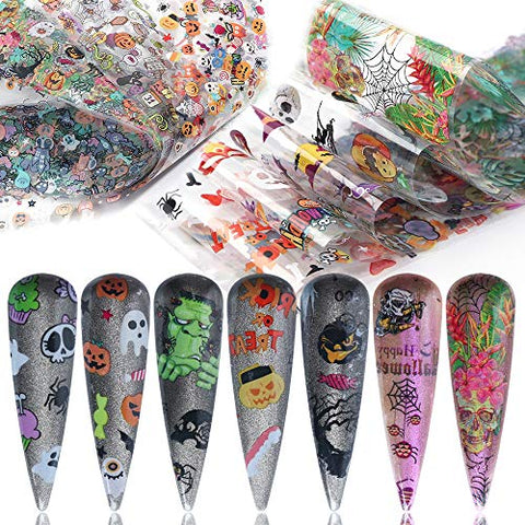 Halloween Nail Art Foil Transfers 10 Types Nails Transfer Foils Stickers for Party Supplies Women Acrylic Fingernails Toenails DIY Beauty Decorations Pumpkin Skull Witch Spider Pattern Designs