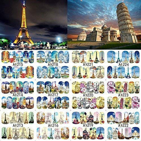 12 sets European cities french eiffel tower Pisa italy NAIL ART DECALS retro trippy psychedelic art water transfer DIY nail stickers POP ART tattoo nail wraps British pop culture nail vinyls NAIL KIT