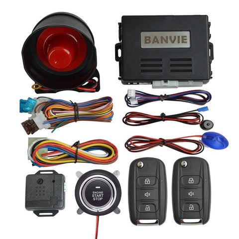 BANVIE Keless Entry Car Security Alarm System with Remote Start & Push to Engine Start Stop Button