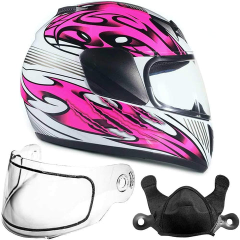 Typhoon Helmets Youth Kids Full Face Snowmobile Helmet DOT Dual Lens Snow Boys Girls - Pink (Medium)