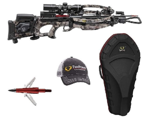 Tenpoint Nitro X Crossbow Package with Rangemaster Pro Scope, Acudraw Pro, Broadheads, Hat, and Stag Case
