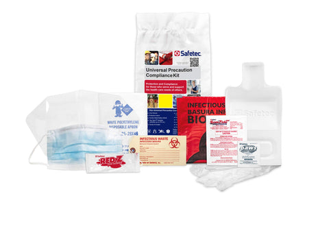 Safetec Universal Precaution Compliance Spill Kit Refill (Poly Bag) for Blood and Bodily Fluid Spills (Pack of 2 Kits)