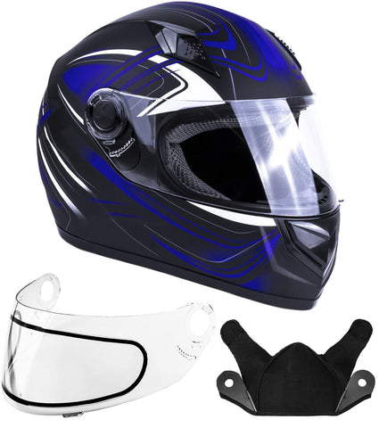 Typhoon Helmets Adult Full Face Snowmobile Helmet DOT (Blue, XL)
