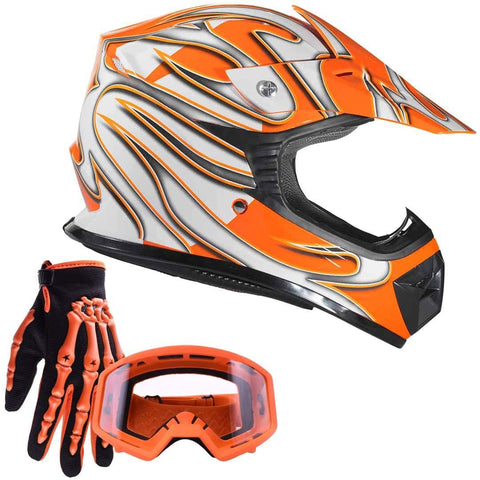 Typhoon Youth Kids Off Road Gear Combo Helmet Gloves and Goggles - Orange (Medium)