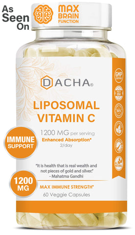 DACHA Nutrition Natural Liposomal Vitamin C - Buffered 1200mg Collagen & Immune System Booster, Anti Aging Skin Vitamins, Anti Inflammatory, Sodium Ascorbate, Sunflower Lecithin, Lypo Spheric