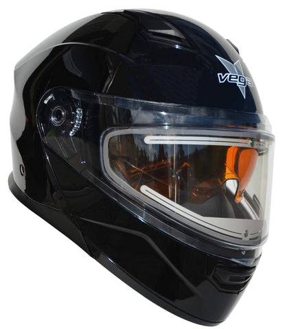 Vega Helmets Unisex-Adult Modular Caldera Electric Snow Snowmobile Helmet with 30% Larger Shield and Sunshield (Gloss Black, 3XL)