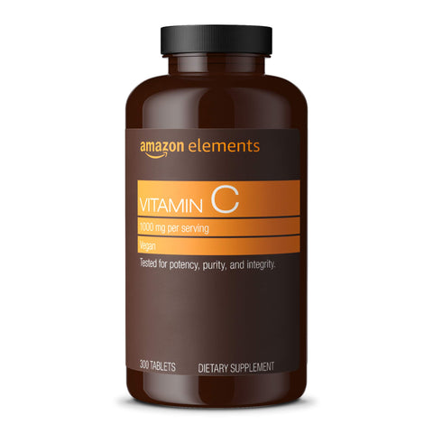 Amazon Elements Vitamin C 1000mg, Immune System Support*, Vegan, 300 Tablets, 10 month supply