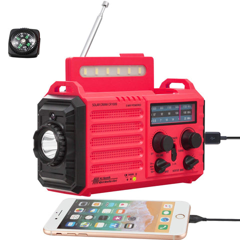5-Way Powered Weather Radio for Household Outdoor Emergency, NOAA/AM/FM/SW Portable Radio&SOS Alarm, Solar Power, Hand Dynamo Crank,2000mAh Rechargable Battery,USB Charger,Flashlight,Camp Lamp,Compass