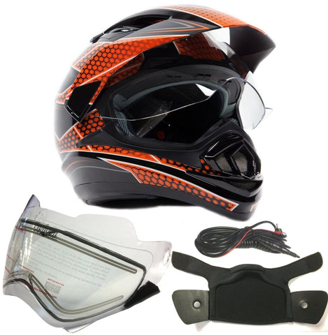 Typhoon XP14 Dual Sport Snowmobile Helmet with Electric Heated Shield - Black/Orange - Large