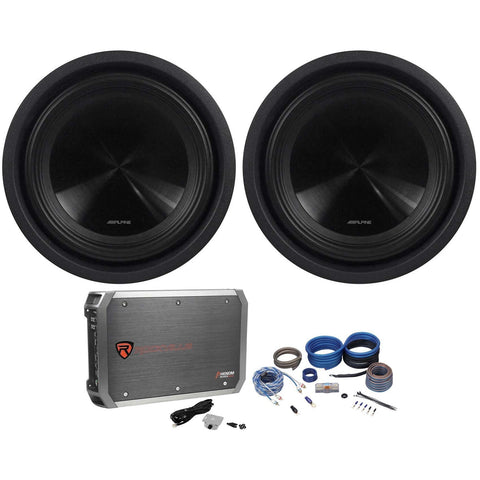 2) Alpine SWT-10S2 10-Inch 2000W Shallow Subwoofers+3000W Mono Amplifier+Amp Kit